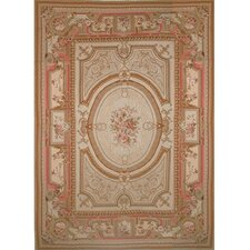 <strong>American Home Rug Co.</strong> Grandeur Gold/Coral Needlepoint Aubusson Rug/Tapestry