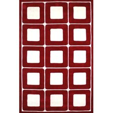 Modern Living Deco Blocks Red/White Rug