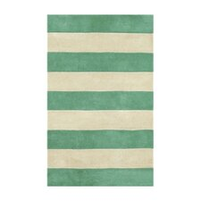 Beach Rug Teal/Ivory Boardwalk Stripes Rug