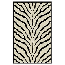 African Safari Off White/Black Zebra Print Rug