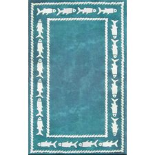 <strong>American Home Rug Co.</strong> Beach Rug Fish Border Novelty Rug