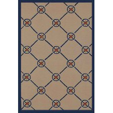 Beach Rug Ivory/Blue Compass Novelty Rug