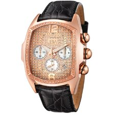 Men's Ceasar Diamond Accented Leather Watch in Black