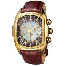Men's Ceasar Diamond Accented Bezel Watch in Brown
