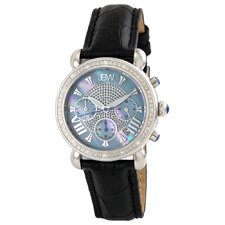 Women's Victory Leather Watch in Black with Blue Dial