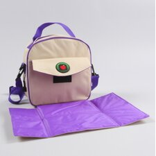 Lauren Placemat Lunch Bag in Tan / Purples Trim and Liner