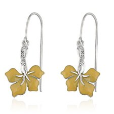 Brilliant Diamond Hibiscus Flower Earrings