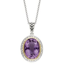 Silver and Gold Amethyst Pendant Necklace
