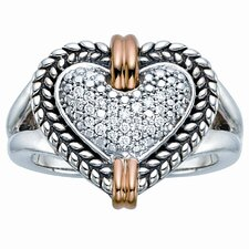 Silver and Gold Heart Brilliant Dimond Ring