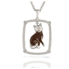 "Sterling Silver and Brilliant Diamond ""Burmese"" Brown Enamel Kitty Pendant"