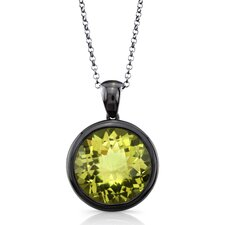 Moonstruck Sterling Silver and Lemon Quartz 11 ct Pendant with Black Rhodium