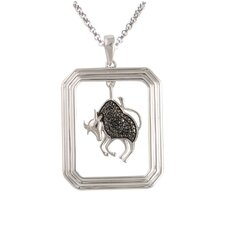 Starry Nights Sterling Silver and Black Diamond Taurus Star Sign Dog Tag Pendant