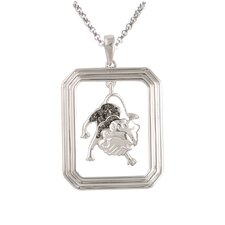 Starry Nights Sterling Silver and Black Diamond Leo Star Sign Dog Tag Pendant