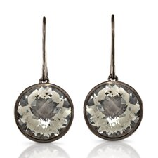 Moonstruck Sterling Silver and White Quartz 11 ct Earrings with Black Rhodium