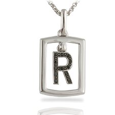 Sterling Silver Diamond Dog Tag Pendant Necklace