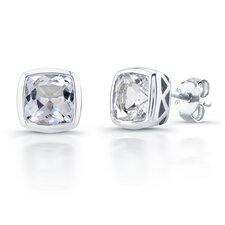 Cushion Cut Birthstone Stud Earrings in Sterling Silver