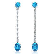 Elegance 4.5 Carat Swiss Blue Topaz and Brilliant Cut Diamond Earrings