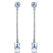 Elegance 3 Carat White Quartz and Brilliant Cut Diamond Earrings