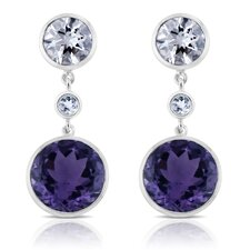 Angelina Sterling Silver Earrings with White Quartz and Amethyst