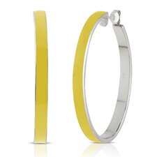 Carnival Sterling Silver and Enamel Oval Hoop Earrings in Lemon
