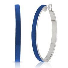 Carnival Sterling Silver and Enamel Oval Hoop Earrings in Navy Blue