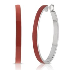 Carnival Sterling Silver and Enamel Oval Hoop Earrings in Red