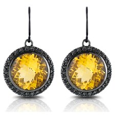 Capri 12 Carat Orange Citrine and Black Sapphire Earrings