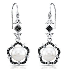 """Narcissus"" Sterling Silver Earrings with Fresh Water Cultured Pearls and Black Sapphires"