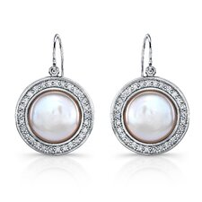 """Lira"" Sterling Silver Earrings with Fresh Water Cultured Pearls and White Sapphires"