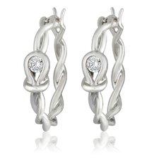 Silver-Tone Cubic Zirconia Fashion Hoop Earrings