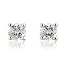 Silver-Tone Cubic Zirconia Stud Earring