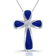 Sterling Silver Diamond Cross Pendant