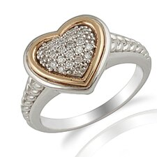 Yellow Gold and Sterling Silver Cubic Zirconia Ring