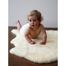 Sheepskin Shorn Lambskin Cream Solid Area Rug