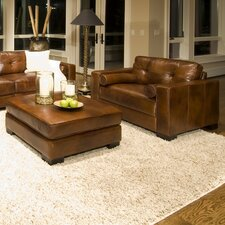 Soho Top Grain Leather Oversized Chair and Ottoman