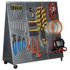 "48"" x 20"" ""A"" Frame Metal Pegboard WOW Tool Cart with Wheels"