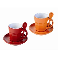 "6-tlg. Tasse Set ""Intermezzo"" in Orange / Rot"