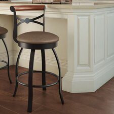 "Library Luxe Style 30"" Bourbon Swivel Bar Stool"