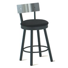 "Lauren 26"" Swivel Counter Stool with Stainless Steel Backrest"