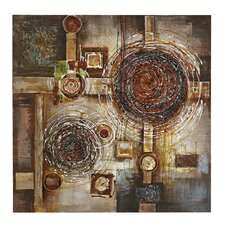 Mixed Media Three Dimensional Wood, Metal and Canvas Art