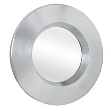 Contemporary Plain Round Mirror in Bright Silver