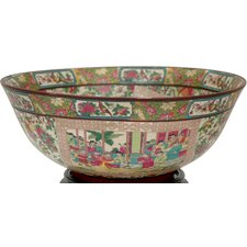 "<strong>Oriental Furniture</strong> 14"" Rose Medallion Porcelain Bowl"
