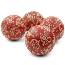 4 Piece Pocerlain Floral Decorative Ball Set