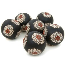 Porcelain Floral Decorative Ball (Set of 6)