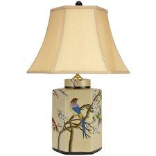 "Birds and Flowers 21.75"" H Porcelain Jar Table Lamp"