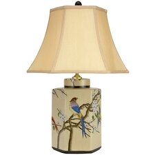 <strong>Oriental Furniture</strong> Birds and Flowers Porcelain Jar Table Lamp