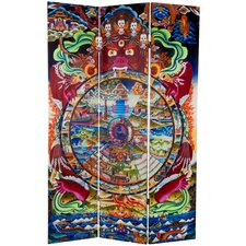 "71"" x 47.25"" The Wheel of Life Double Sided 3 Panel Room Divider"