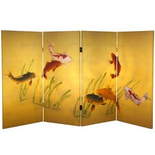 "36"" x 50.4"" Double Sided Seven Lucky Fish 4 Panel Room Divider"