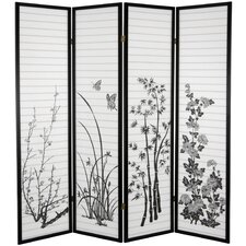"70.25"" x 70"" Bamboo and Blossoms 4 Panel Room Divider"