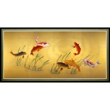Seven Lucky Fish Framed Painting Print
